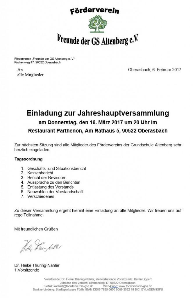 Einladung Jahreshauptversammlung 2017